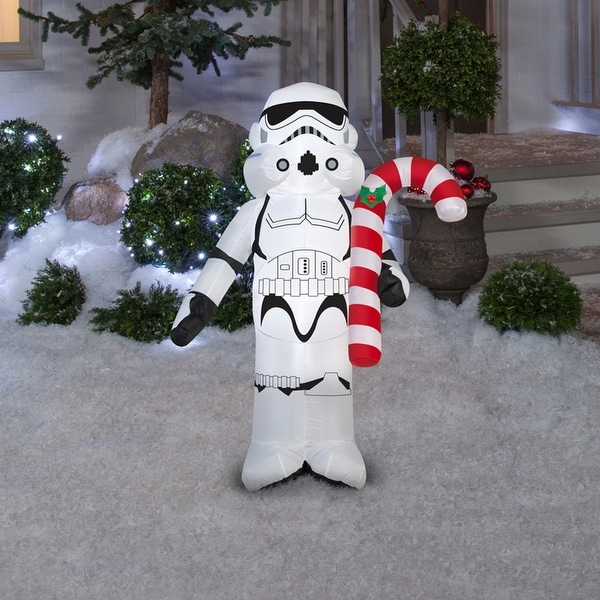 gemmy 37344 christmas airblown star wars stormtrooper holding can inflatable whiteblack fabric
