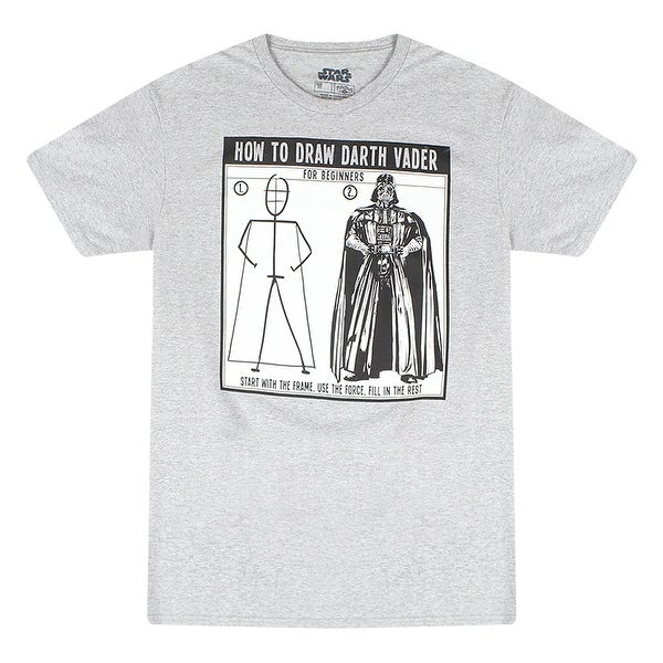 a6e1d45a40f Shop Star Wars How to Draw Darth Vader Men s Grey T-shirt - Free Shipping  On Orders Over  45 - Overstock - 17064265