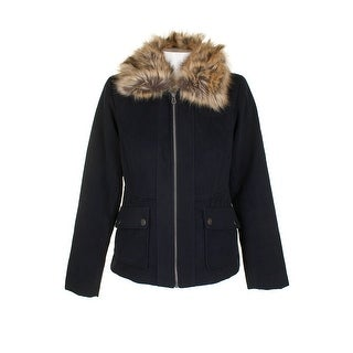 Maralyn Me Navy Blue Brown Faux-Fur-Collar Full Zip Utility Pocket Jacket M