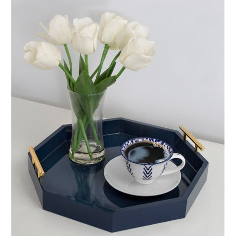 Kate and Laurel Lipton Octagon Decorative Tray with Metal Handles - 18x18