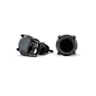 Bling Jewelry Black CZ Screw Back Post Stud earrings 925 Sterling Silver 7mm