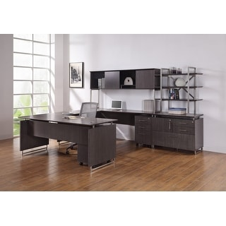 "Horizon 72"" x 98"" U - Shaped Computer Desk - Wood Veneer - Desk Mount Hutch - Double File Pedestals - Commercial Grade"