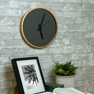 Link to Abbyson Roblar Black and Gold Wall Clock Similar Items in Decorative Accessories