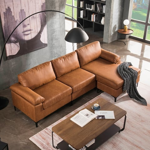 Ovios Mid-Century Top-Grain SUEDE Leather Chaise Sofa With Cushions Metal Legs
