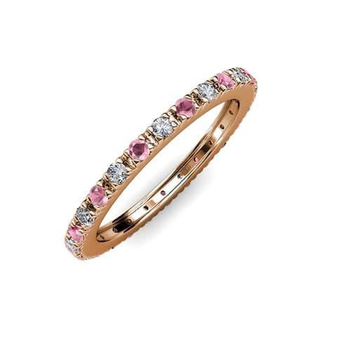 TriJewels Rhodolite Garnet Diamond 3/4 ctw French Set Eternity Ring 14K Gold