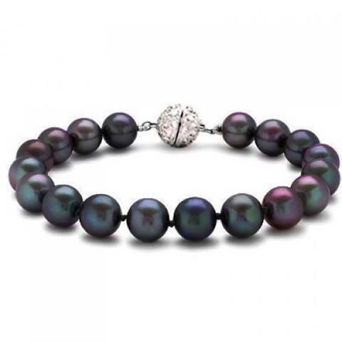 Hand Knot Rainbow Black Strand Imitation Pearl Bracelet Crystal Clasp