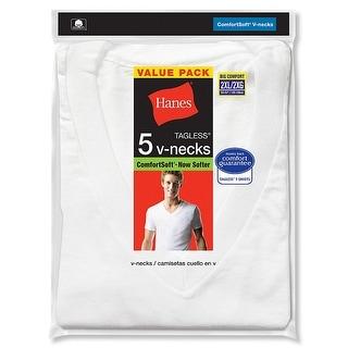 Hanes Men's TAGLESS V-Neck Undershirt 5-Pack