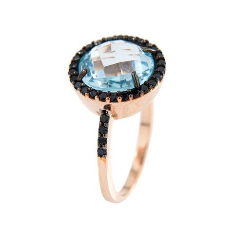 Forever Last 18 kt Gold Plated Women's Rose Plated Faceted Blue Topaz