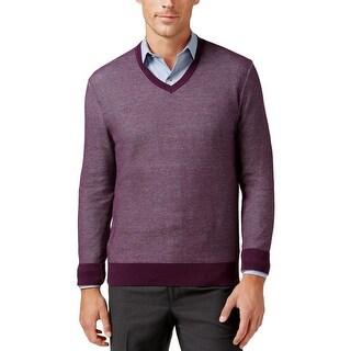 Michael Kors Mens Pullover Sweater Heathered V-Neck