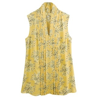 Catalog Classics by April Cornell Yellow Roses Sleeveless Blouse - V-Neck Floral