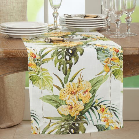 Hemstitch Table Runner With Tropical Flower Design