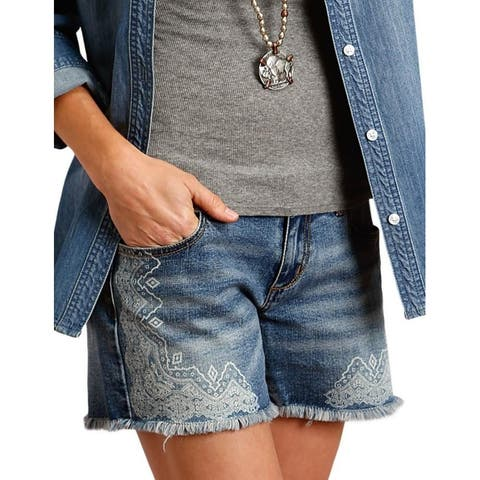 Stetson Western Shorts Womens Frayed Screen Print