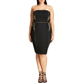 City Chic Womens Plus Cocktail Dress Contrast Trim Strapless