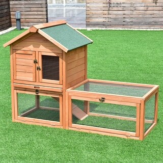 Shop Gymax 56 Pet Supplies Wooden House Rabbit Hutch