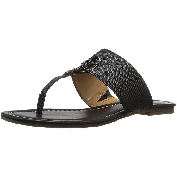 Tommy Hilfiger Womens SIA Leather Open Toe Casual Slide Sandals