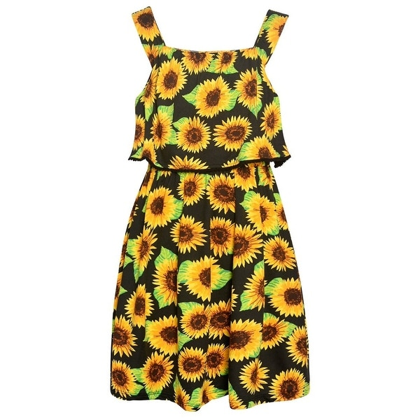 eb08e5fd57 Real Love Little Girls Black Floral Allover Print V-Shaped Back Dress