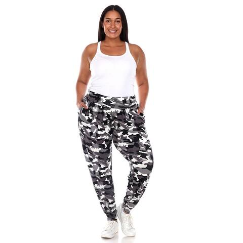 Plus Size Camo Harem Pants - Black Army