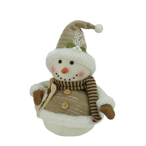 "16"" Snowman with Sled and Mistletoe Christmas Decoration"