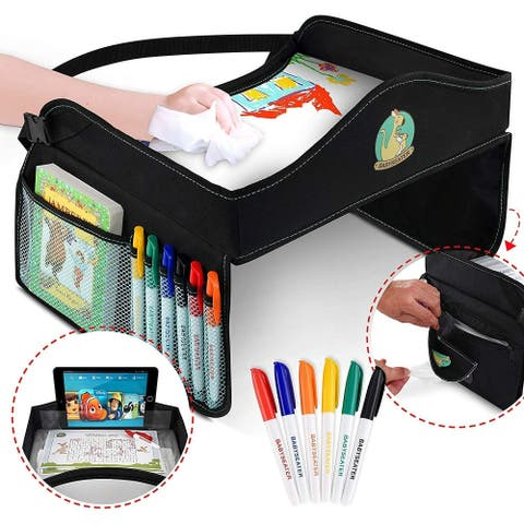 BABYSEATER Kids Travel Tray w/Markers-Dry Erase Board - Car Seat Tray - Black