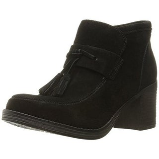 Mia Womens Shayla Suede Stacked Heel Ankle Boots - 8.5 medium (b,m)