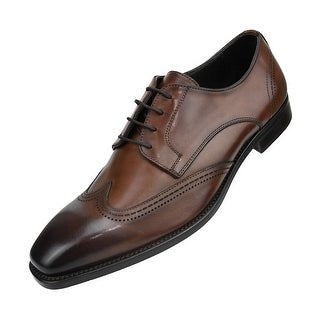 Asher Green Genuine Italian Leather Classic Wing Tip Dress Shoe