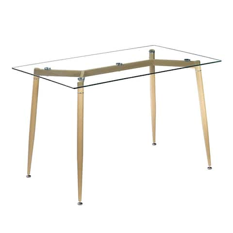 Simple Wood Grain Table Leg & Transparent Glass Top Dining Table