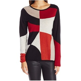 Nic + Zoe NEW Red Womens Size Small S Geo-Print Pullover Sweater