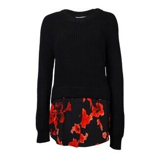 Michael Kors Women's Lava Print Hem Long Sleeve Sweater - Black - l