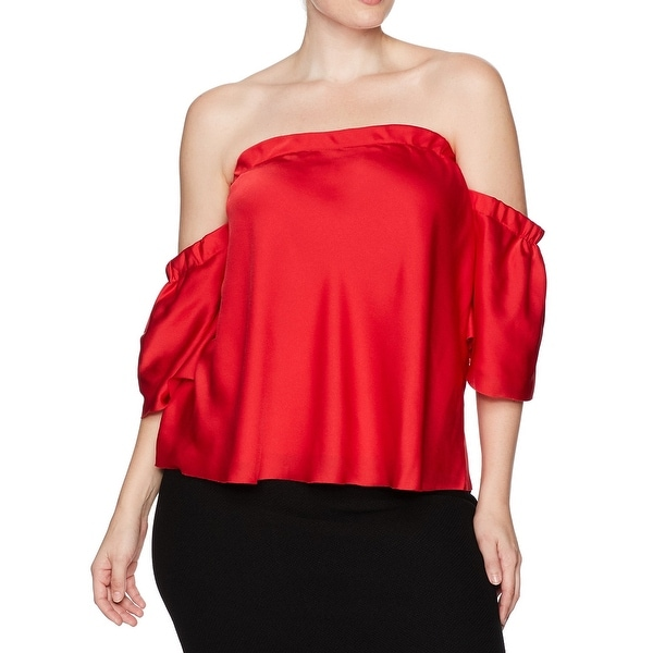 RACHEL RACHEL ROY Red Womens Size 1X Plus Satin Off-Shoulder Blouse