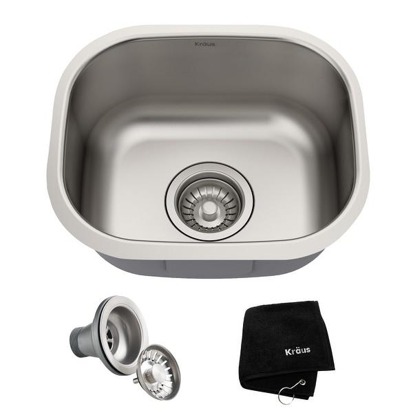 KRAUS Premier Stainless Steel 15 inch Undermount Kitchen Bar Sink. Opens flyout.