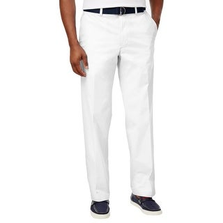 Haggar Mens Stretch Poplin Pants Solid Belted - 40/30
