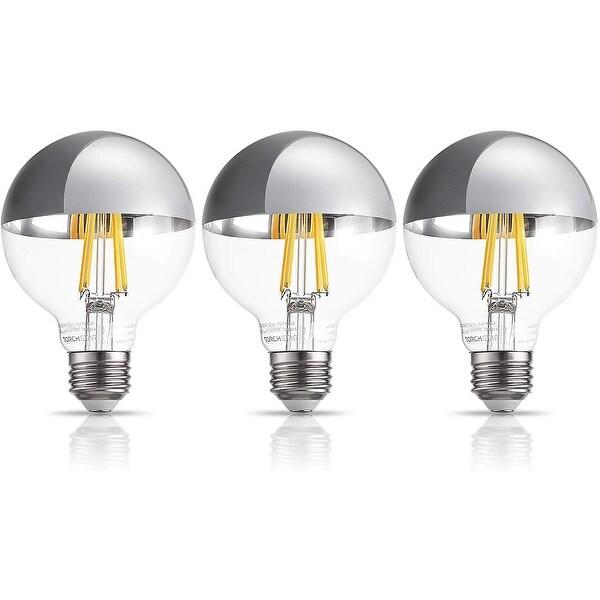 3 Pack G25 Half Chrome Light Bulb, Warm White 3000K - 7W. Opens flyout.
