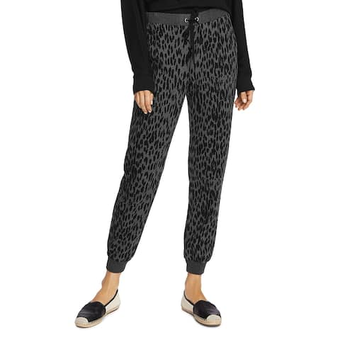Vince Camuto Womens Jogger Pants Cotton Animal Print - Med Heather Grey