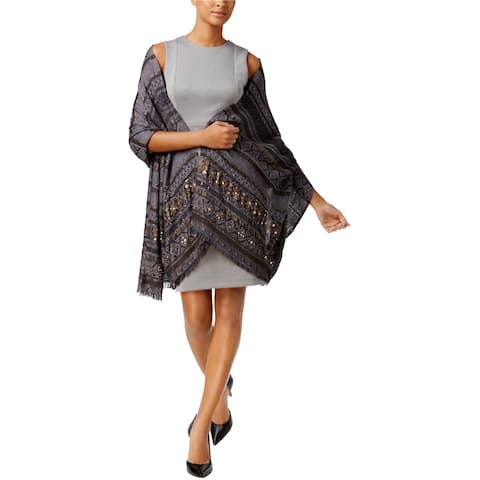 I-N-C Womens Embellished Wrap, grey, One Size - One Size