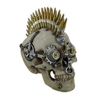 Steampunk Rock Bullet Mohawk Skull Statue - 7.5 X 8.5 X 5 inches