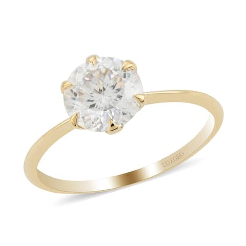 Shop LC Yellow Gold Moissanite Solitaire Ring Size 7 Ct 3.8