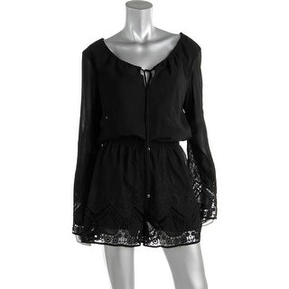 Lucy Paris Womens Lace Trim Embroidered Romper
