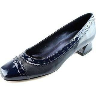 Vaneli Debra Square Toe Leather Heels