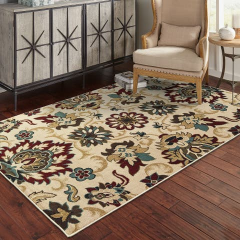 Copper Grove Omis Borderless Floral Ivory and Multicolored Area Rug