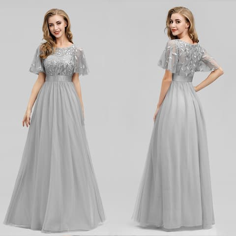Ever-Pretty Womens Elegant Embroidery A-Line Bridesmaid Evening Dresses for Women 00904