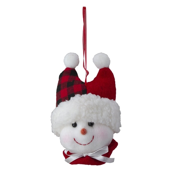 "4.5"" Snowman In Red Black Flannel Hat White Bow Christmas Ornament"