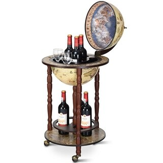 Gymax 17'' Wood Globe Wine Bar Stand 16th Century Italian Rack Liquor Bottle Shelf Cart - as pic