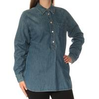 Womens Blue Cuffed Collared Casual Top  Size  M