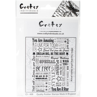 """Crafty Individuals Unmounted Rubber Stamp 3.75""""X5.5"""" Pkg-You Are A Star"""