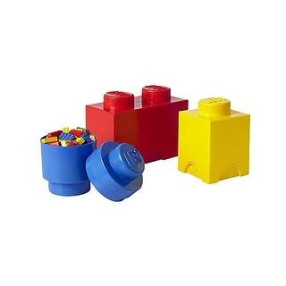 LEGO Storage Brick 4-Piece Set, Bright Red, Blue & Yellow - Multi
