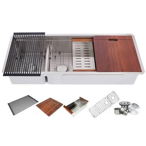48 Inch Workstation Undermount 16 Gauge Double Bowl Stainless Steel Kitchen Sink w/ Integrated Ledge, 15mm Radius Accessories