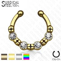 316L Surgical Steel Fake Septum Hanger 4 Crystals (Sold Ind.)