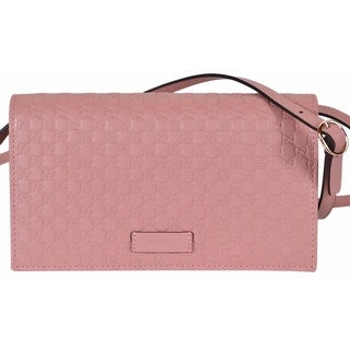 "Gucci 466507 Pink Leather Micro GG Guccissima Crossbody Wallet Bag Purse - 8"" x 4.5"" x 1.5"""