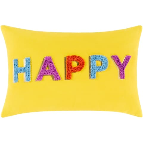 Happy Hand Embroidered 13x20-inch Lumbar Throw Pillow
