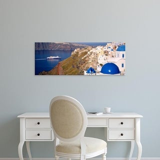 Easy Art Prints Panoramic Images's 'Buildings in a valley, Santorini, Cyclades Islands, Greece' Premium Canvas Art
